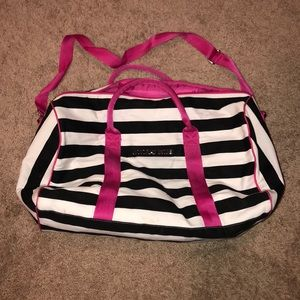 Victoria's Secret striped weekend bag